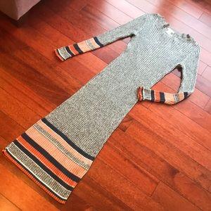 👗stripe rib long sleeve midi sweater dress